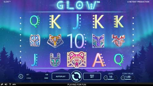 Glow Big Bonus Slots Main game board featuring five reels and 15 paylines with a $946,000 max payout
