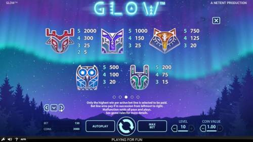 Glow Big Bonus Slots High value slot game symbols paytable