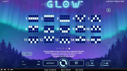 Glow Big Bonus Slots Payline Diagrams 1-15