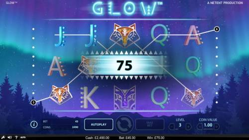 Glow Big Bonus Slots A pair of winning paylines triggers a 75 coin payout.