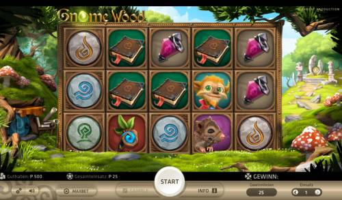 Gnome Wood Big Bonus Slots Main game board featuring five reels and 25 paylines with a $1,000 max payout.