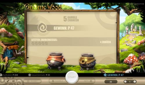 Gnome Wood Big Bonus Slots Gamble Feature - To gamble any win press Gamble then select Left Kettle or Right Kettle