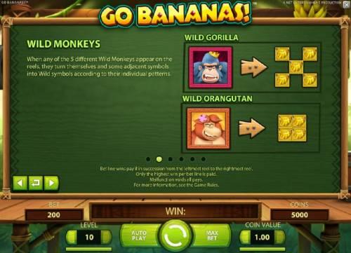 Go Bananas Big Bonus Slots Wild Monkeys symbols and rules