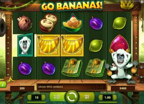 Go Bananas Big Bonus Slots mockey symbol on reel 1, changes adjacent reels into wild symbols