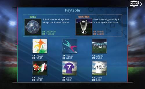 Goal Big Bonus Slots Paytable