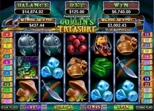 Goblin's Treasure Big Bonus Slots Bonus round win od 6700