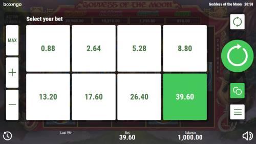 Goddess of the Moon Big Bonus Slots Betting Options