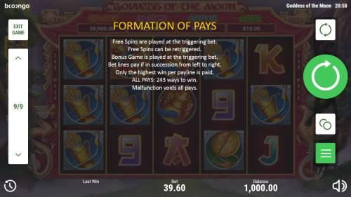 Goddess of the Moon Big Bonus Slots Formation Pays