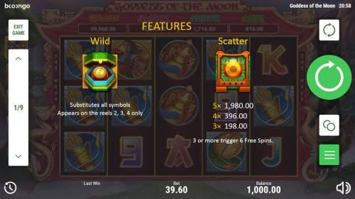 Goddess of the Moon Big Bonus Slots Wild and Scatter Symbol Rules