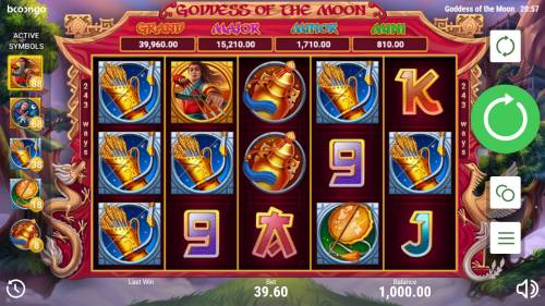 Goddess of the Moon Big Bonus Slots Main Game Board