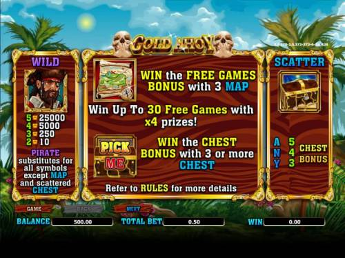 Gold Ahoy Big Bonus Slots wild, scatter and free games paytables