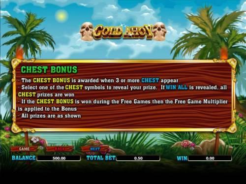 Gold Ahoy Big Bonus Slots chest bonus rules