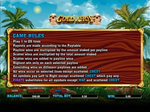 Gold Ahoy Big Bonus Slots general game rules