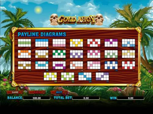 Gold Ahoy Big Bonus Slots twenty-five payline diagrams