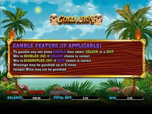 Gold Ahoy Big Bonus Slots gamble feature rules (if applicable)