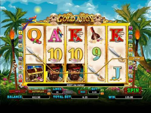 Gold Ahoy Big Bonus Slots five of a kind triggers 125 coin jackpot