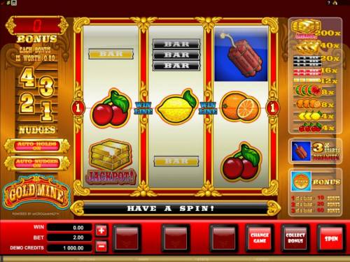 Gold Mine Big Bonus Slots main game board featuring 3 reels and one pay line