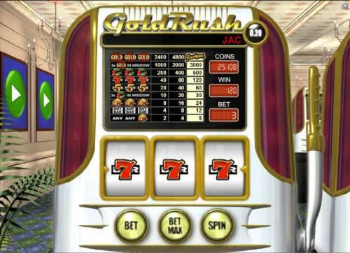 Gold Rush Big Bonus Slots triple sevens triggers a 120 coin big win