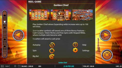 Golden Chief review on Big Bonus Slots