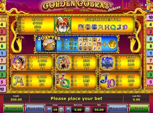 Golden Cobras Deluxe Big Bonus Slots Paytable