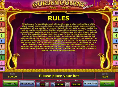 Golden Cobras Deluxe Big Bonus Slots General Game Rules