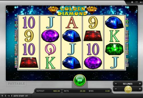 Golden Diamond Big Bonus Slots Main Game Board