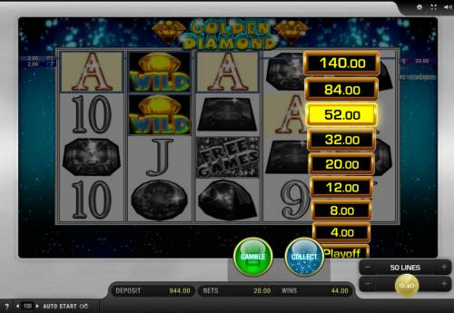 Golden Diamond Big Bonus Slots Ladder Gamble Feature Game Board