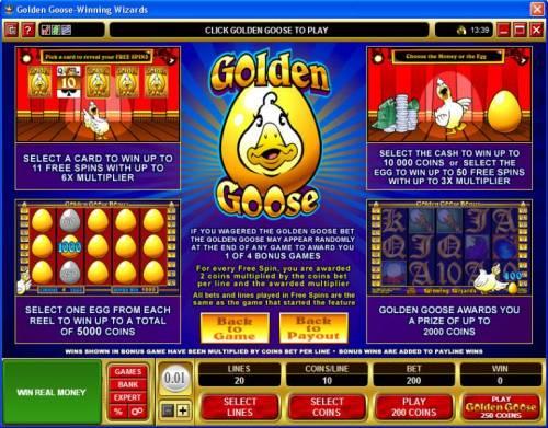 Golden Goose - Winning Wizards review on Big Bonus Slots