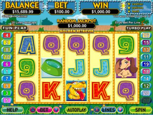 Golden Retriever review on Big Bonus Slots