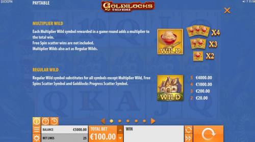 Goldilocks and the Wild Bears Big Bonus Slots Wild Symbol Rules