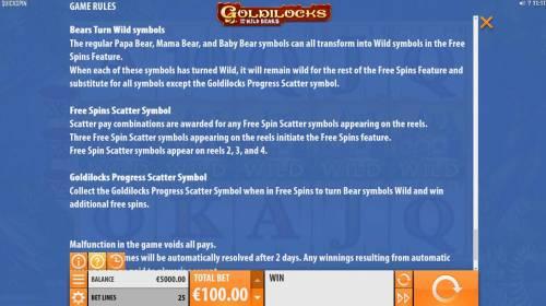 Goldilocks and the Wild Bears review on Big Bonus Slots