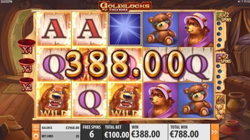 Goldilocks and the Wild Bears Big Bonus Slots Collect Goldilocks to earn extra wild symbols during free games feature