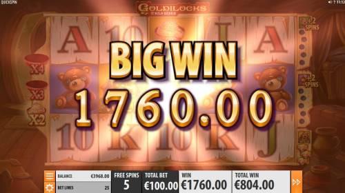 Goldilocks and the Wild Bears Big Bonus Slots 1760 coin big win