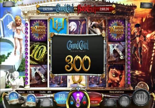 Good Girl Bad Girl Big Bonus Slots money wheel bonus feature pays out an 300 coin jackpot