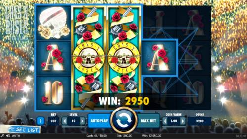 Guns N' Roses Big Bonus Slots Multiple winning paylines triggered by a pair of stacked wilds on reels 2 and 3 leads to a 2950 coin jackpot.
