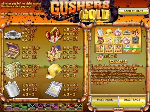 Gushers Gold Big Bonus Slots slot game symbols paytable