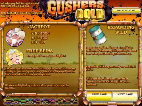 Gushers Gold Big Bonus Slots jackpot, free spins and expanding wild game rules