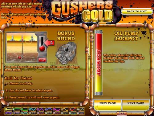 Gushers Gold Big Bonus Slots bonus round and oil pump jackpot game rules