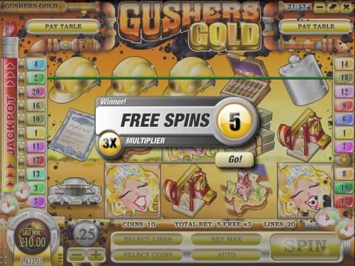 Gushers Gold Big Bonus Slots three scatter symbols triggers five free spins