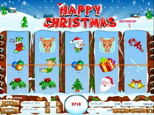 Happy Christmas Big Bonus Slots main game board featuring five reels and nine paylines
