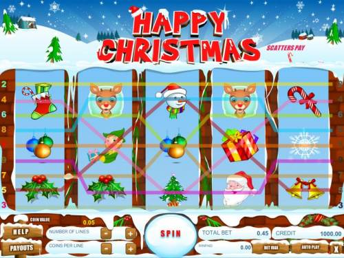 Happy Christmas Big Bonus Slots game is configured with nine paylines