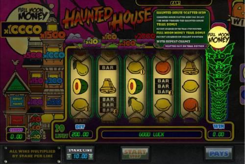 Haunted House Big Bonus Slots Full Moon Money bonus feature triggered.