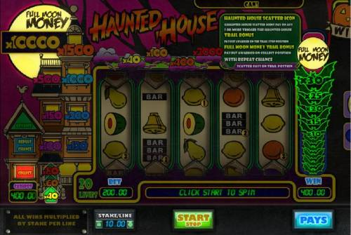 Haunted House Big Bonus Slots Click the start button to play the Full Moon Money bonus feature until the collect option appears. Bonus feature pays out a total of 400.00