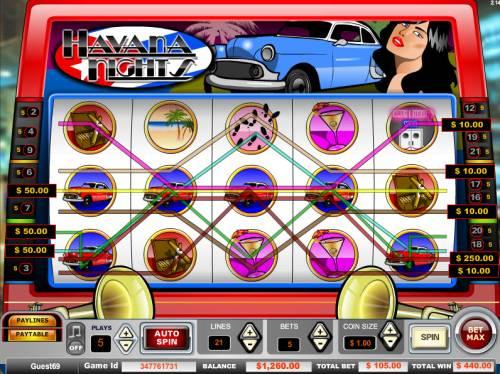 Havana Nights Big Bonus Slots Big win triggered by multiple winning paylines