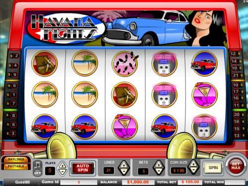 Havana Nights Big Bonus Slots Main Game Board