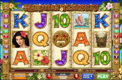 Hawaiian Treasure Big Bonus Slots Main game board featuring 5 reels and 10 paylines