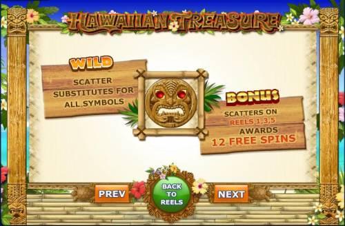 Hawaiian Treasure Big Bonus Slots wild substitutes for all symbols and bonus on reels 1, 3, 5 awards 12 free spins