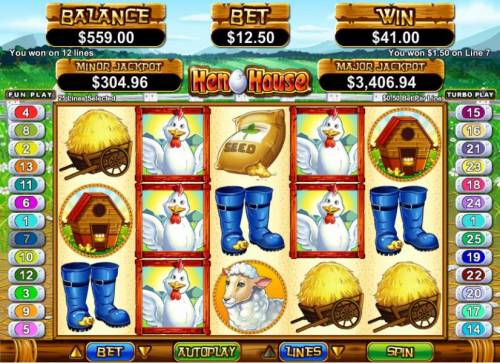 Hen House Big Bonus Slots multiple winning paylines triggers $41 jackpot