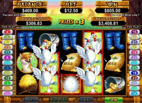 Hen House Big Bonus Slots multiple winning paylines tiggers an $805 big win during free games feature