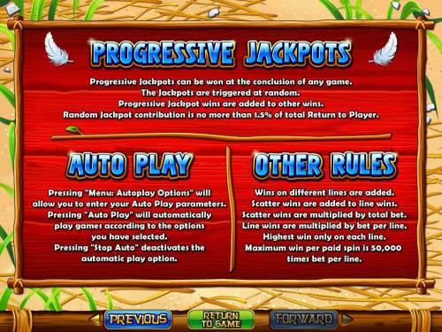 Hen House Big Bonus Slots Progressive Jackpot Rules and General Game Rules